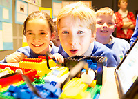 REPRO FREE:   Carrabane National School pupils Erica Coyne and Oisin Reidy at the Junior FIRST Lego League run by Galway Education Centre, in Galmont Hotel &amp; Spa.<br />  Photo: Andrew Downes, XPOSURE