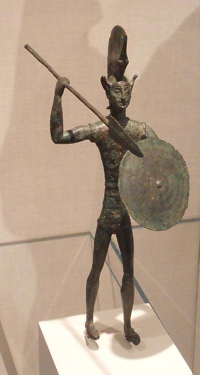 bronze statuette of a warrior. Etruscan 5th century BC