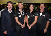 Colin Batch (head coach of the Black Sticks Men) and Mark Hager ( head coach of the Black Sticks Women ) with captains Kayla Whitelock (Sharland) Dean Couzins. Black Sticks Hockey World Cup Farewell Function at Auckland Grammar Club. Auckland. New Zealand. Thursday 15 May 2014. Photo: Andrew Cornaga/Photosport.co.nz