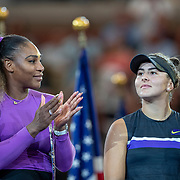 2019 US Open Tennis Tournament- Day Thirteen.   Winner Bianca Andreescu of Canada applauded by Serena Williams of the United States at the trophy presentation after the Women's Singles Final on Arthur Ashe Stadium during the 2019 US Open Tennis Tournament at the USTA Billie Jean King National Tennis Center on September 7th, 2019 in Flushing, Queens, New York City.  (Photo by Tim Clayton/Corbis via Getty Images)