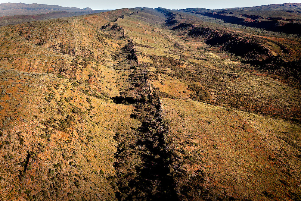Aerial view looking east of the spines of the West MacDonnell Ranges, Central Australia