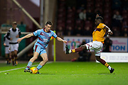 3rd November 2018, Fir Park, Motherwell, Scotland; Ladbrokes Premiership football, Motherwell versus Dundee; Cammy Kerr of Dundee and Gaël Bigirimana of Motherwell