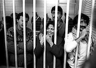 Roma 1987<br /> Aula bunker del Foro Italico<br /> Processo Moro-Ter alle Brigate Rosse. Stefano Petrella, Barbara Balzerani,Salvatore Ricciardi,Marcello Capuano