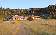 Post hospital, restored 1960s - 1990s, at Fort Davis National Historic Site, a US army fort established 1854, in a canyon in the Davis Mountains in West Texas, USA. The hospital was extended in 1884 with a second ward added, so it could hold up to 24 patients. The fort was built to protect emigrants, mail coaches, and freight wagons on the trails through the State from Comanche and Apache Indians. After the Civil War, several African-American regiments were stationed here. By the 1880s, the fort consisted of one 100 buildings, housing over 400 soldiers. It was abandoned in 1891, but many buildings have been restored and the compound now operates as a historical site and museum. Picture by Manuel Cohen