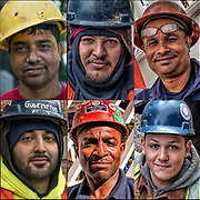 Collage of six head and shoulders portraits of blue collar construction workers.<br /> <br /> 1) Blue Collar Hard Hat - GOR-113824-16<br /> 2) Portrait of Blue Collar Worker - GOR-14470-3cRcE18<br /> 3) Onsite Manager - GOR-122438-cE-16<br /> 4) Blue Collar Hispanic American - GOR-146818-cR18<br /> 5) Cliff Freser Iron Worker Local 580 - GOR-119251-cEcR1-16<br /> 6) Installing New Gas Pipes - GOR-142353-cE18