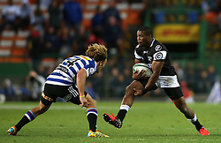 Sibusiso Sithole of the Sharks attempts to get past Werner Kok of Western Province during the Currie Cup Premier Division match between the DHL Western Province and the Sharks held at the DHL Newlands Rugby Stadium in Cape Town, South Africa on the 3rd September  2016<br /> <br /> Photo by: Shaun Roy / RealTime Images