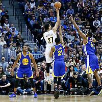 13 February 2017: Denver Nuggets guard Jamal Murray (27) goes for the floater shot over Golden State Warriors forward Kevon Looney (5) during the Denver Nuggets 132-110 victory over the Golden State Warriors, at the Pepsi Center, Denver, Colorado, USA.