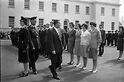 Garda Passing Out Parade and presentation of Scott Medals.  The Minister for Justice Mr. Charlie Haughey T.D. inspects a Passing Out Parade of Garda Recruits at a ceremony at the Depot, Phoenix Park. Included are a group of Ban-Gardaí..04.05.1962