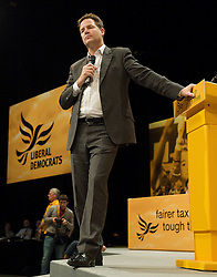 Deputy Prime Minister Nick Clegg and leader of the Liberal Democrats on stage at the Liberal Democrats Annual Conference in Brighton, Sunday September 23, 2012. Photograph by Elliott Franks / i-Images