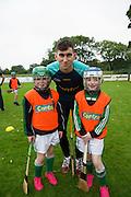 Galway Hurler Jason Flynn with  Abby Glennon and Chloe Burke Castlegar <br />  Photo: Andrew Downes XPOSURE