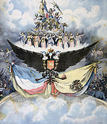Franco-Russian friendhsip celebrations in Paris: Tableau presented at the gala at the Opera, showing the Russian and French flags and the Russian Imperial double-headed eagle. From 'Le Petit Journal', Paris, 28 November 1893.