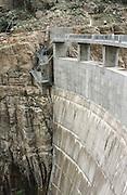 USA, Wyoming, Cody. Downstream face of the Buffalo Bill Dam.