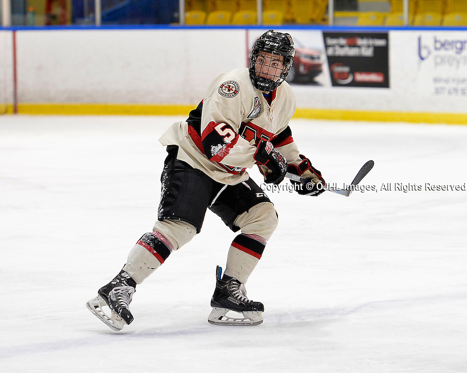 WHITBY, ON - Oct 9, 2015 : Ontario Junior Hockey League game action between Newmarket and Whitby, Andrew Breda #5 of the Newmarket Hurricanes during the first period.<br /> (Photo by Shawn Muir / OJHL Images)