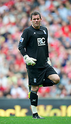 LIVERPOOL, ENGLAND - Saturday, April 23, 2011: Birmingham City's goalkeeper Ben Foster during the Premiership match against Liverpool at Anfield. (Photo by David Rawcliffe/Propaganda)