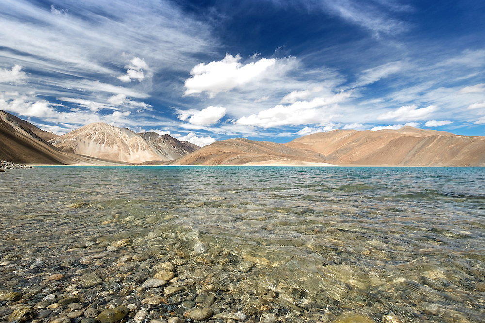 Pangong Lake in Ladakh, Jammu and Kashmir State of India