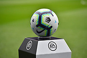 The match ball with premier league and the No Room For Racism logo's before the Premier League match between Cardiff City and Chelsea at the Cardiff City Stadium, Cardiff, Wales on 31 March 2019.