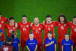 CARDIFF, WALES - Sunday, October 13, 2019: Wales' (L-R) Daniel James, Connor Roberts, Jonathan Williams, Ben Davies and Ethan Ampadu sing the national anthem before the UEFA Euro 2020 Qualifying Group E match between Wales and Croatia at the Cardiff City Stadium. (Pic by Paul Greenwood/Propaganda)