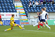 Natalia Voskobovich (#1) of Belarus saves a shot from Erin Cuthbert (#22) of Scotland during the FIFA Women's World Cup UEFA Qualifier match between Scotland Women and Belarus Women at Falkirk Stadium, Falkirk, Scotland on 7 June 2018. Picture by Craig Doyle.