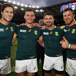 LONDON, ENGLAND - OCTOBER 17: Jan Serfontein with Jesse Kriel - Willie le Roux and Duane Vermeulen of South Africa during the Rugby World Cup Quarter Final match between South Africa and Wales at Twickenham Stadium on October 17, 2015 in London, England. (Photo by Steve Haag/Gallo Images)