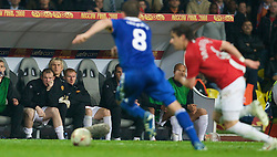 MOSCOW, RUSSIA - Wednesday, May 21, 2008: Manchester United's Wayne Rooney can only watch from the bench after being substituted during the UEFA Champions League Final against Chelsea at the Luzhniki Stadium. (Photo by David Rawcliffe/Propaganda)