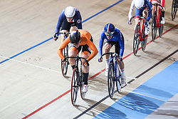 March 2, 2018 - Apeldoorn, Netherlands - Gold medal winner Netherland's Kirsten Wild (orange,C) competes during the women's omnium during the UCI Track Cycling World Championships in Apeldoorn on March 2, 2018. (Credit Image: © Foto Olimpik/NurPhoto via ZUMA Press)
