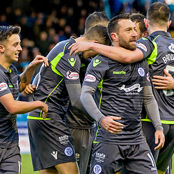 Stephen Dobbie (11) of Queen of the South celebrates in front of the away fans after scoring during the Ladbrokes Scottish Championship game between Greenock Morton and Queen of the South at Cappielow Park on 4th November 2017 in Greenock, Scotland.   (c) BERNIE CLARK | SportPix.org.uk