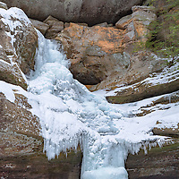 Very frozen Cedar Falls, located in the Hocking Hills State Park, near Logan, Ohio