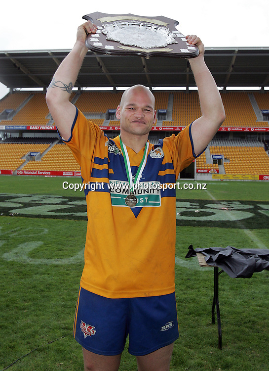 Phil Shead after winning player of the match in the Bartercard Cup Final between Mt. Albert and Canterbury at Ericsson Stadium, Auckland, New Zealand on Sunday September 18, 2005. Mt. Albert won the match, 24 - 22. Photo: Hannah Johnston/PHOTOSPORT<br />