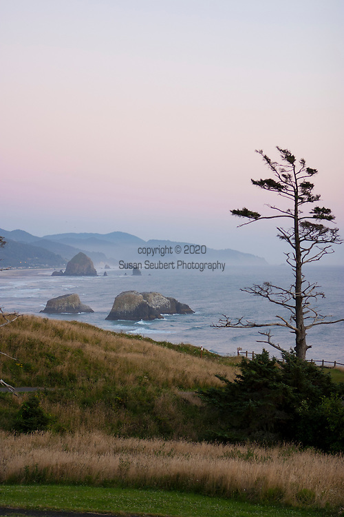 """Views from Ecola State Park.  The first recorded White journey to what is now Cannon Beach was made by William Clark, one of the leaders of the Lewis and Clark Expedition in early 1806. The expedition was wintering at Fort Clatsop, roughly 20 miles to the north near the mouth of the Columbia River. In December 1805, two members of the expedition had returned to camp with blubber from a whale that had beached several miles south, near the mouth of what is now known as Ecola Creek. Knowing that the expedition needed some variety in their monotonous winter diet, Clark decided to journey south from Fort Clatsop over Tillamook Head, which he described in his journal as """"the Steepest worst and highest mountain I ever assended [sic]…"""". From a place near the western cliffs of the headland he saw """"…the grandest and most pleasing prospects which my eyes ever surveyed, in front of a boundless Ocean…"""" That viewpoint is now called Clark's Point of View and can be accessed by a hiking trail from Indian Beach in Ecola State Park. Haystack Rock and Cannon Beach are visible in the distance."""