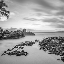 Secret Cove Wedding Beach Maui Hawaii black and white photo with Ahihi Bay. Also called Pa'ako Cove and Makena Cove, Secret Cove is a popular beach in Wailea Kihei Hawaii. Copyright ⓒ 2019 Paul Velgos with All Rights Reserved.