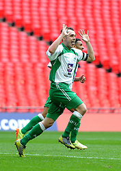North Ferriby captain Liam King celebrates scoring in the FA Trophy Final between North Ferriby United and Wrexham at Wembley Stadium on 29 March 2015 in , England - Photo mandatory by-line: Paul Knight/JMP - Mobile: 07966 386802 - 29/03/2015 - SPORT - Football - London - Wembley Stadium - North Ferriby United v Wrexham - FA Trophy
