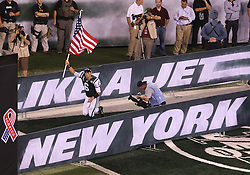 Sept 11, 2011; East Rutherford, NJ, USA; New York Jets quarterback Mark Sanchez (6) runs onto the field during the first half at the MetLife Stadium.