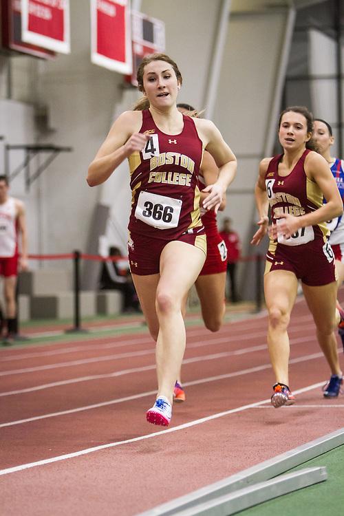 Boston University Multi-team indoor track & field, women 400 meter heat 3, Boston College 366