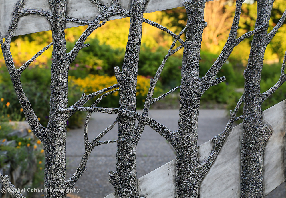 &quot;Through the Garden Gate&quot;<br /> <br /> Beautiful metal gate shaped like trees lets you gaze into the botanical garden beyond!!<br /> <br /> Flowers and Wildflower by Rachel Cohen