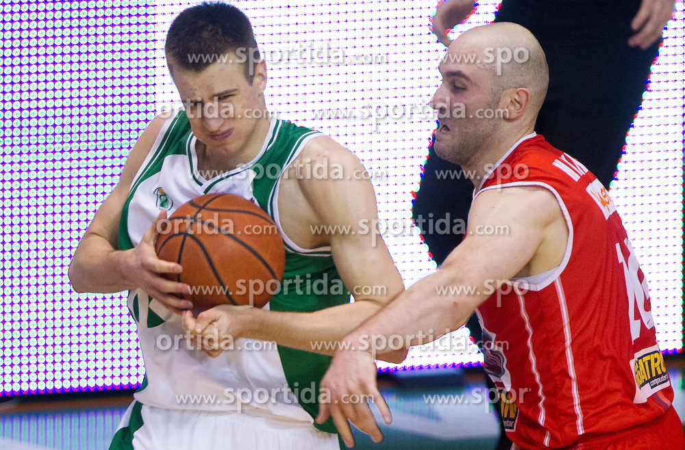 Matej Rojc of Krka during basketball match between KK Krka and Radnicki (SRB) in 20th Round of ABA League, on February 3, 2013 in Arena Leon Stukelj, Novo mesto, Slovenia. (Photo By Vid Ponikvar / Sportida.com)