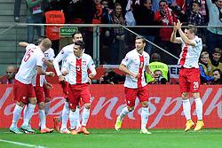 14.10.2014, Nationalstadium, Warsaw, POL, UEFA Euro Qualifikation, Polen vs Schottland, Gruppe D, im Bild KRZYSZTOF MACZYNSKI, RADOSC BRAMKA GOL 1:0 DLA POLSKI // during the UEFA EURO 2016 Qualifier group D match between Poland and Scotland at the Nationalstadium in Warsaw, Poland on 2014/10/14. EXPA Pictures © 2014, PhotoCredit: EXPA/ Newspix/ Michal Stanczyk<br /> <br /> *****ATTENTION - for AUT, SLO, CRO, SRB, BIH, MAZ, TUR, SUI, SWE only*****