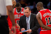 25 December 2011: Head coach Tom Thibodeau of the Chicago Bulls coaches against the Los Angeles Lakers during the Bulls 88-87 victory over the Lakers at the STAPLES Center in Los Angeles, CA.