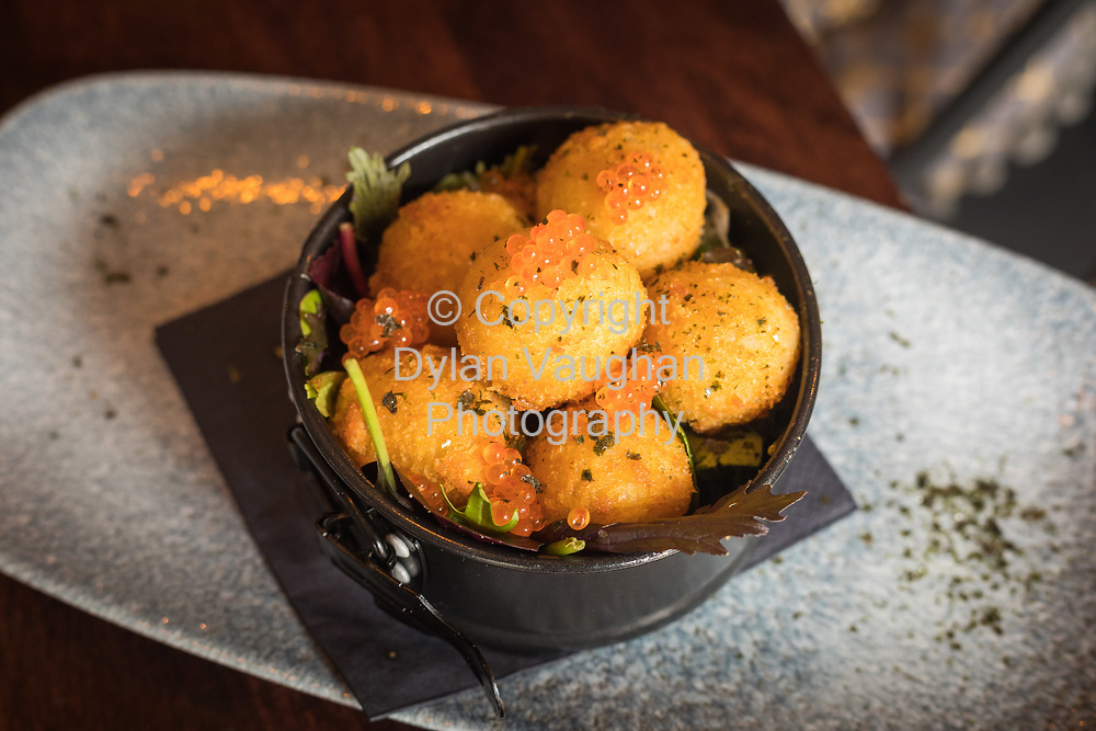 14-6-17<br /> <br /> Goatsbridge trout croquettes and trout roe at Kernel on Vicar Street in Kilkenny.<br /> Picture Dylan Vaughan.