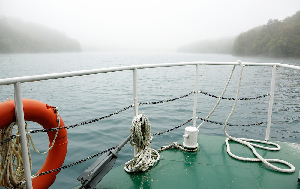 View from the boat, onto the misty Plitvice Lakes, Croatia.