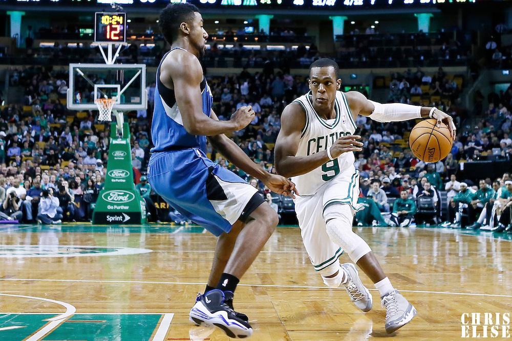 05 December 2012: Boston Celtics point guard Rajon Rondo (9) drives past Minnesota Timberwolves shooting guard Malcolm Lee (8) during the Boston Celtics 104-94 victory over the Minnesota Timberwolves at the TD Garden, Boston, Massachusetts, USA.