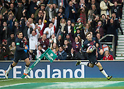 Twickenham, United Kingdom.Elloit DALY running with his frst half try, during the Old Mutual Wealth Series Rest Match: England vs Fiji, at the RFU Stadium, Twickenham, England, Saturday  19/11/2016<br />