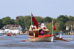 © Licensed to London News Pictures. 16/05/2015.  The Queen's row barge Gloriana takes part in her first official engagement of the year, re-enacting the historic tudor pull from Hampton Court in South West London all the way along the Thames to the tower of london.  The famous row barge was accompanies by traditional thames cutters. The scene on a beautiful sunny day by Chiswick Bridge across the Thames. Credit : Rob Powell/LNP