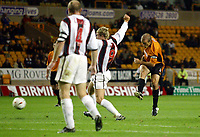 Photograph: Scott Heavey.<br />Wolverhampton Wanderers v Darlington.  Carling Cup 2nd  Round. 23/09/2003.<br />Alex Rae strikes Wolves in to first half lead.