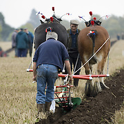 Farmers and horse drawn plough at vintage ploughing competition Perthshire 2005<br />
