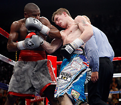 K.M. CANNON/REVIEW-JOURNALRicky Hatton of Britain lands a right to Floyd Mayweather of Las Vegas in the sixth round of their WBC World Welterweight Championship bout at the MGM Grand Garden Arena Saturday, Dec. 8, 2007. Mayweather won by knockout in the 10th round...
