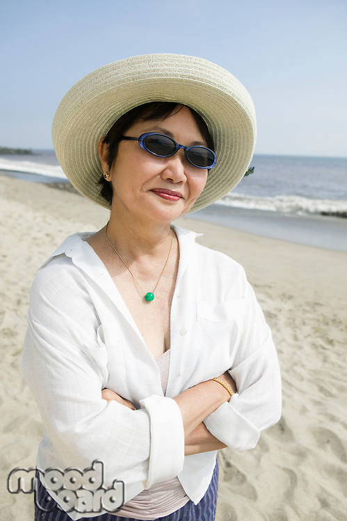Middle-aged woman on beach