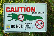 """Alligator warning sign, Alligator Corner, J.N. """"Ding"""" Darling National Wildlife Refuge, Sanibel Island, Florida"""