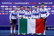 Podium, Flag, Gold Medal, Men Team Pursuit, Italy, Elia Viviani, Francesco Lamon, Filippo Ganna, Michele Scartezzini, Liam Bertazzo, during the UEC Track Cycling European Championships Glasgow 2018, at Sir Chris Hoy Velodrome, in Glasgow, Great Britain, Day 2, on August 3, 2018 - Photo Luca Bettini / BettiniPhoto / ProSportsImages / DPPI - Belgium out, Spain out, Italy out, Netherlands out -