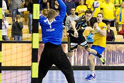 Patrick Groetzki #24 of Rhein-Neckar Lowen during handball match between RK Celje Pivovarna Lasko (SLO) vs Rhein-Neckar Lowen (GER) in 3rd Round of Group A of EHF Champions League 2013/14 on October 12, 2013 in Arena Zlatorog, Celje, Slovenia. (Photo By Urban Urbanc / Sportida)