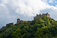 Germany, River Rhine. Hilltop castle perched high on a ridge along the Rhine in Southern Germany.